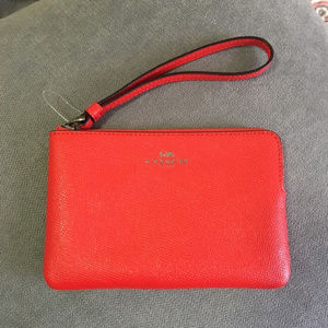Coach small wristlet red pouch coin purse wallet